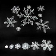 Christmas 3D Snowflake Hanging Party Decoration Ornaments with Holes and Strings, White Plastic Sparkle Snowflake, Party Supplies For Wonderland Winter,