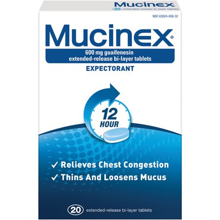 Mucinex 12 Hour Chest Congestion Expectorant Relief Tablets, 20 Count, Thins & Loosens