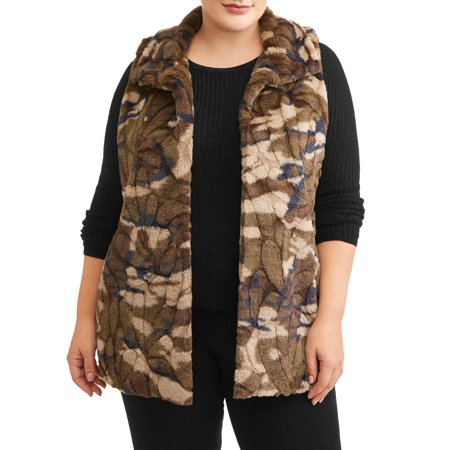 Recharge & Renew Women's Plus Size Camo Faux Fur Vest