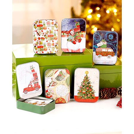 Gift Box Place Card Holder - Sets of 6 Tin Gift Card Holders ( Traditional )
