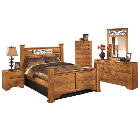 Ashley Furniture Bedroom Sets.Ashley Furniture Bittersweet 5 Pc Queen Panel Bedroom Set W Chest Light Brown Walmart Com