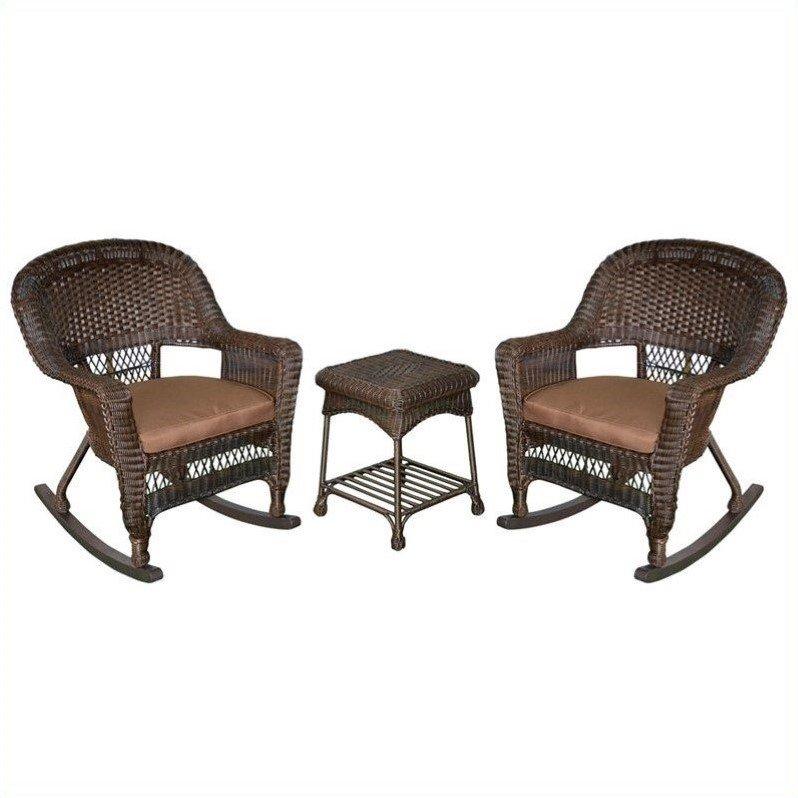 Jeco 3pc Wicker Rocker Chair Set in Espresso with Brown Cushion