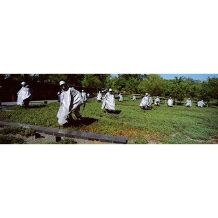 Field Memorial (USA Washington DC Korean War Memorial Statues in the field Canvas Art - Panoramic Images (36 x)
