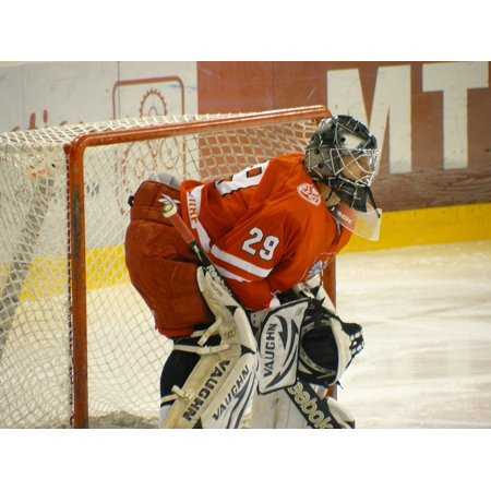 Peel-n-Stick Poster of Goalie Ice Hockey Team Sport Goal Helmet Game Poster 24x16 Adhesive Sticker Poster Print
