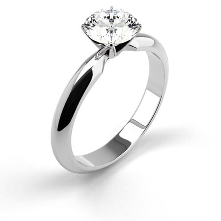 0.24 Carat Weight Solitaire Round Cut Diamond Engagement Ring - 14K White
