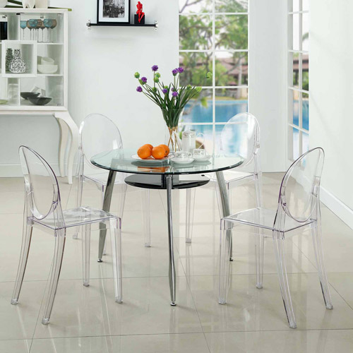 Modway Casper Stackable Dining Side Chair, Set Of 4 In Clear