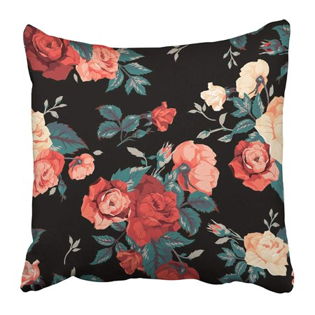 ECCOT White Flower Floral Pattern with of Red and Orange Roses on Black Pink Watercolor Pillowcase Pillow Cover 16x16 inch - Orange And Pink