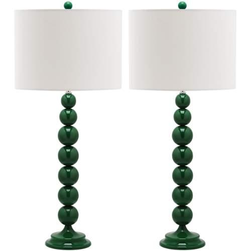 Safavieh LIT4090K-SET2 Jenna 2 Light Table Lamp with Shade (Set of 2);Green