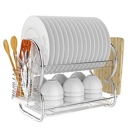 Homdox 2-Tier Dish Rack and Drainboard Set, Chrome Stainless Steel Dish Drying Rack 17L x 10W x 15H Inches ()