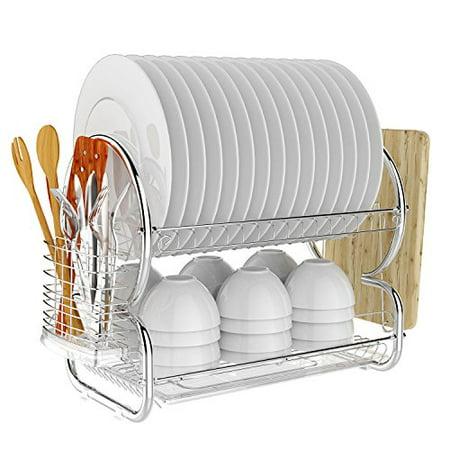 Homdox 2 Tier Dish Rack And Drainboard Set Chrome