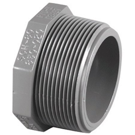 Charlotte Pipe  Schedule 80  1/2 in. MPT   x 1/2 in. Dia. MPT  PVC  Threaded Plug ()