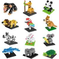 Mini Animals Building Blocks Sets Party Favors, 12 Boxes