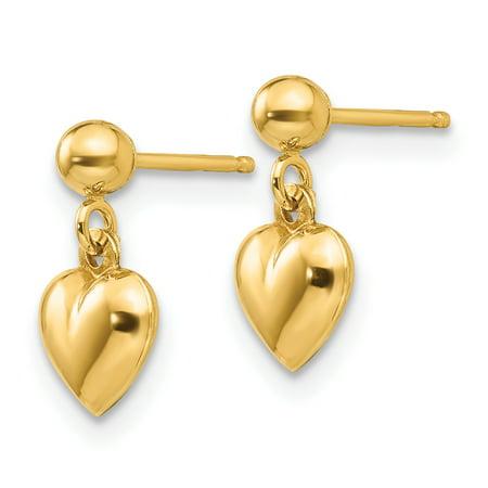 14K Yellow Gold Madi K Puffed Heart Dangle Earrings - image 1 de 2