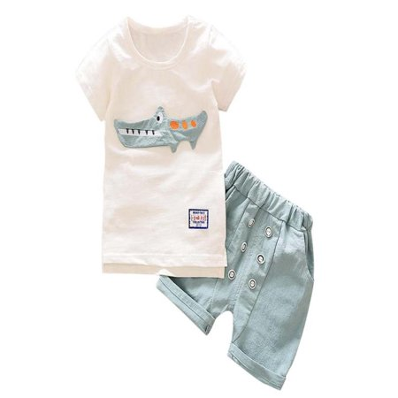Womail Toddler Kid Baby Boy Outfits Clothes Cartoon Print T-shirt Tops+Shorts Pants Set