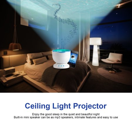 HERCHR Light Projector, Ceiling Light Projector, Romantic Ocean Waves LED Night Light Projector Bedroom Sleep Relaxing Lamp with