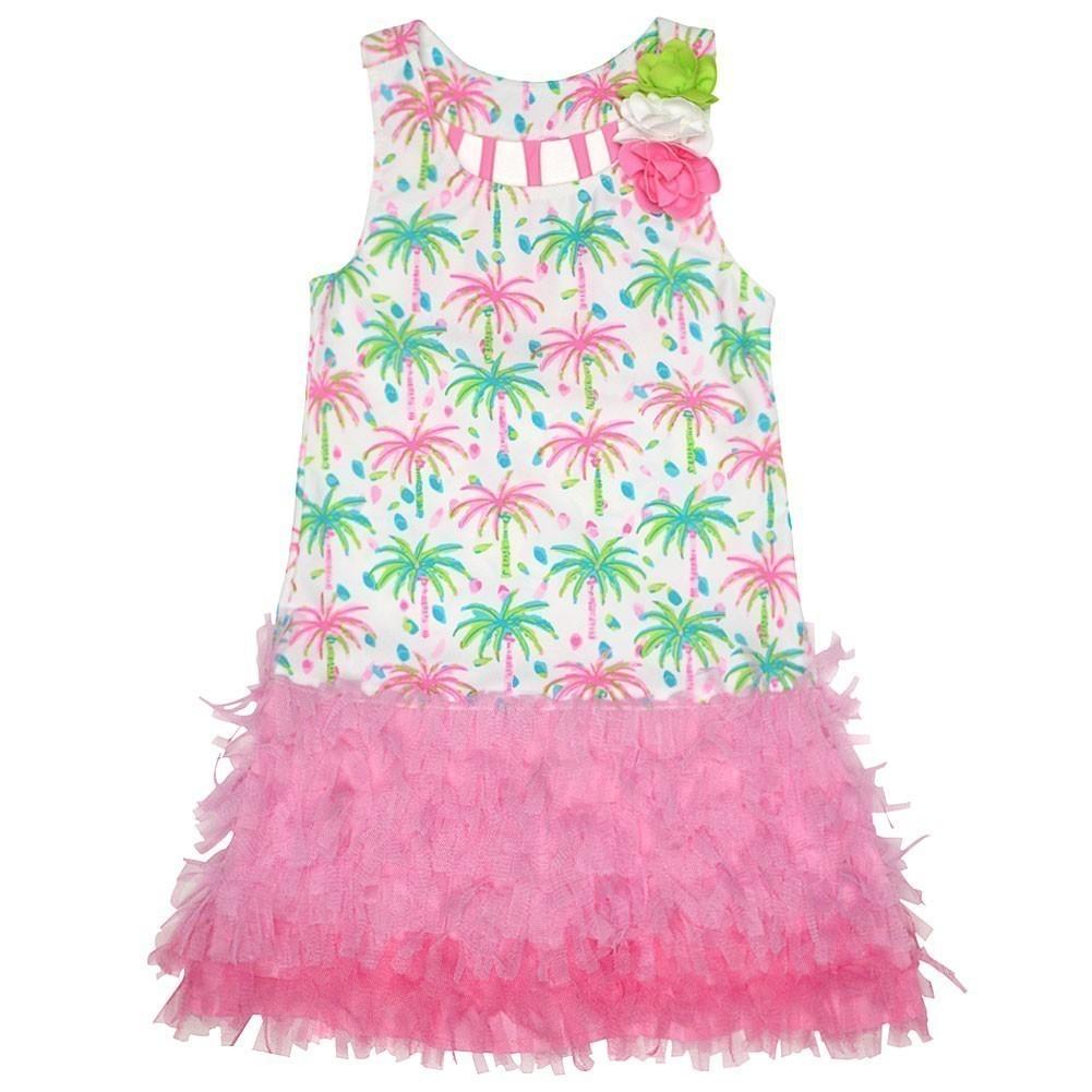 Kate Mack Big Girls Pink Palm Tree Print Island Hopping E...