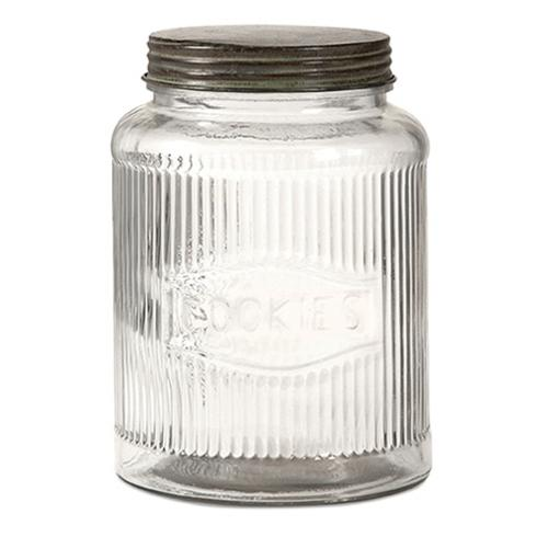 """8.25"""" Vintage Style Glass Cookie Jar with Screw On Lid"""