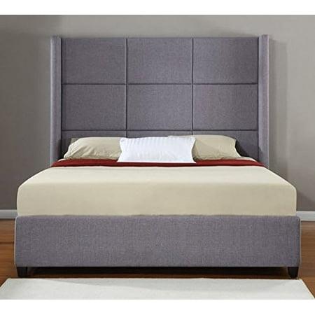 Jillian Grey Upholstered King Size Platform Bed Frame