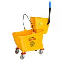 Alpine Industries 36 Quart Splash Guard Side Press Heavy Duty Mop Bucket with Wringer Combo, Yellow