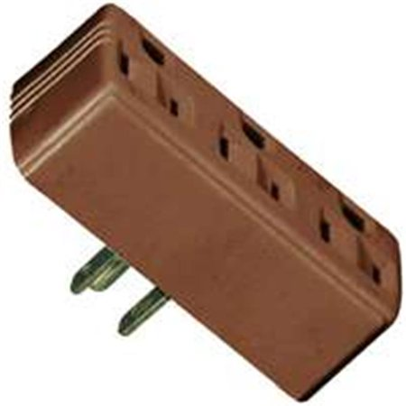 - Eaton Wiring Devices 1147B-BOX Grounded Outlet Adapter, 15 A, 2-Pole, 3-Outlet, Brown
