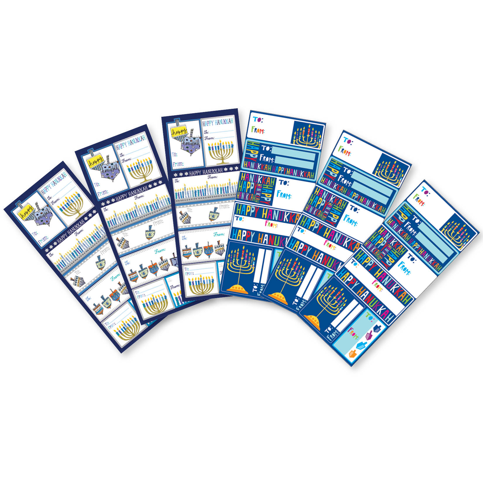 Jillson & Roberts Gift Label Assortment, Hanukkah Designs (12 Sheets)