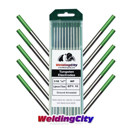 WeldingCity 10 TIG Welding Tungsten Electrodes Pure (Green) 1/16