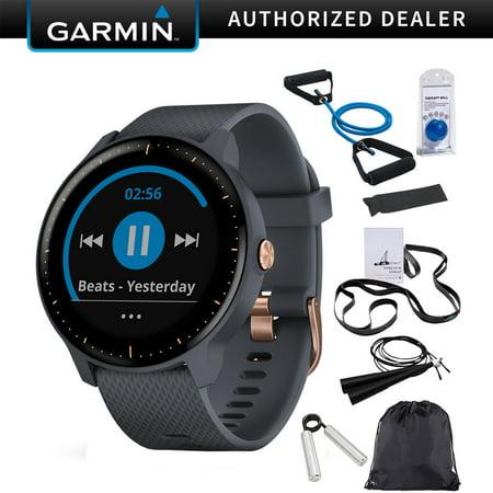 b7cf4c90cc2 Garmin Vivoactive 3 Music GPS Smartwatch Granite Blue + Rose Gold  (010-01985-31) with Deco Gear 7-Piece Fitness Kit - Walmart.com