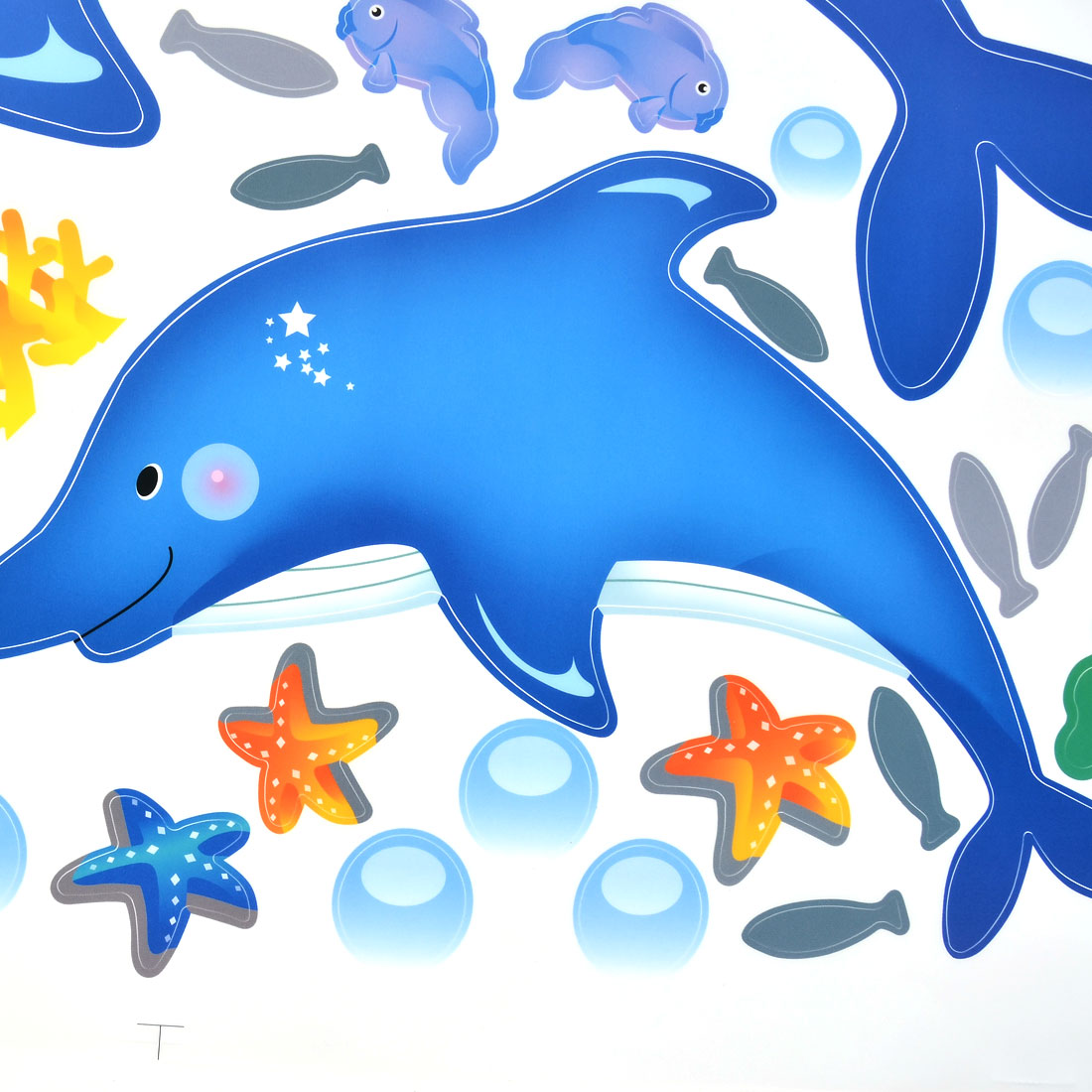 Home Bedroom Decor Fish Dolphin Pattern Self Adhesive Wall Decor Sticker  Decal