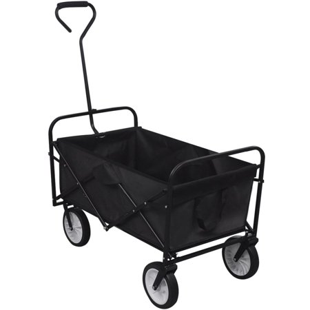 K Top Deal Foldable Garden Wheelbarrow Utility Cart, Trolley Trailer Steel Carrier, Black