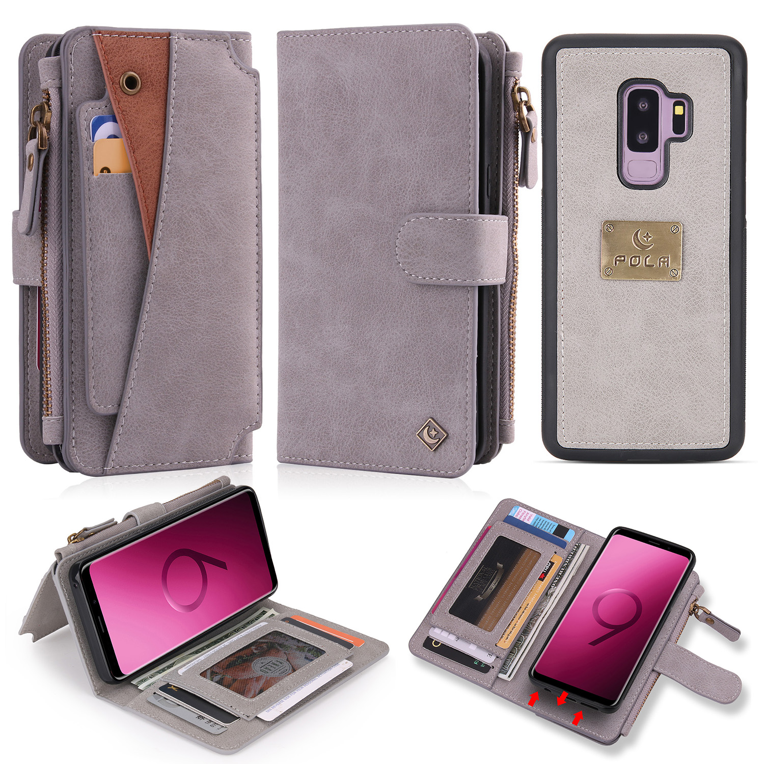 Galaxy S9 Case, Allytech PU Leather Folio Flip Stand Detachale Wallet Case Build In Metal Plate for Magnetic Car Mount Cards Holder Purase Clutch Zipper Wallet Cover for Samsung Galaxy s9, Gray