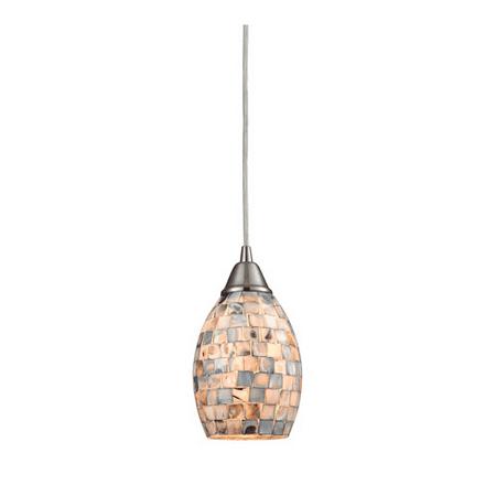 Pendants 1 Light With Satin Nickel Finish Gray Capiz Shell Glass Medium Base 5 inch 60 Watts - World of Lamp