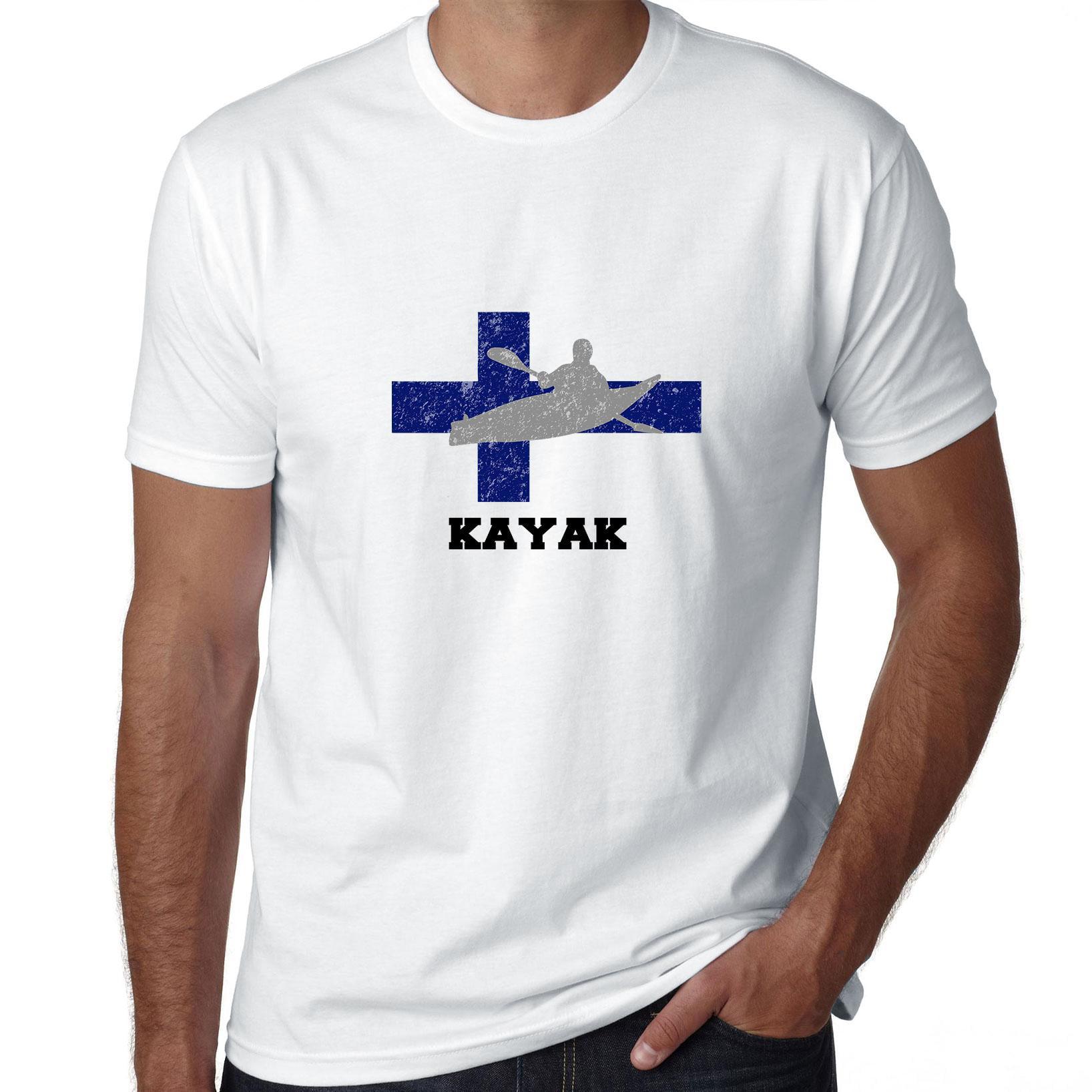 Finland Olympic - Kayak- Flag - Silhouette Men's T-Shirt