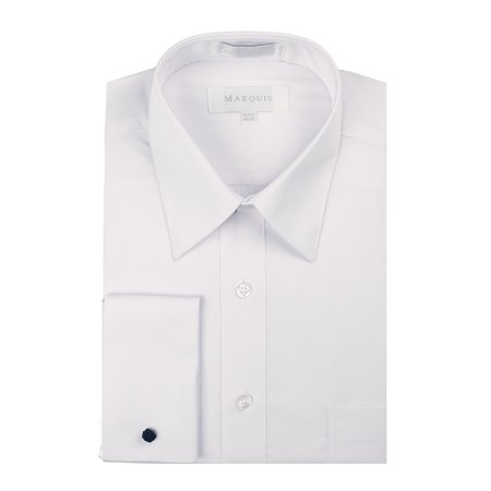 Marquis Men's Regular Fit Long Sleeve Dress Shirt with French Cuffs and