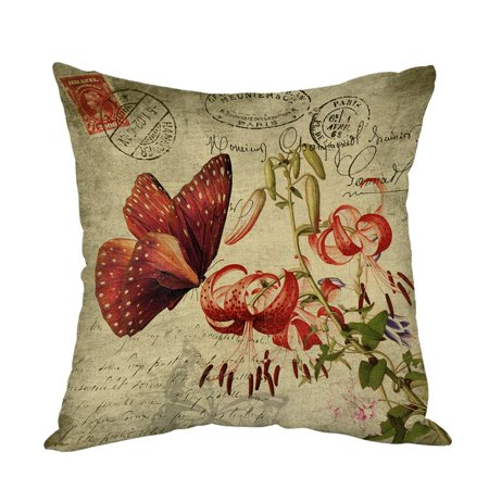 Tayyakoushi Butterfly Pillow,Home Decor Throw Pillow Cover vintage Red Butterfly with Flower Cotton Linen Cushion for Couch/ Sofa/ Bedroom/ Livingroom/ Kitchen/Car 18 x 18 inch Square Pillow case ()