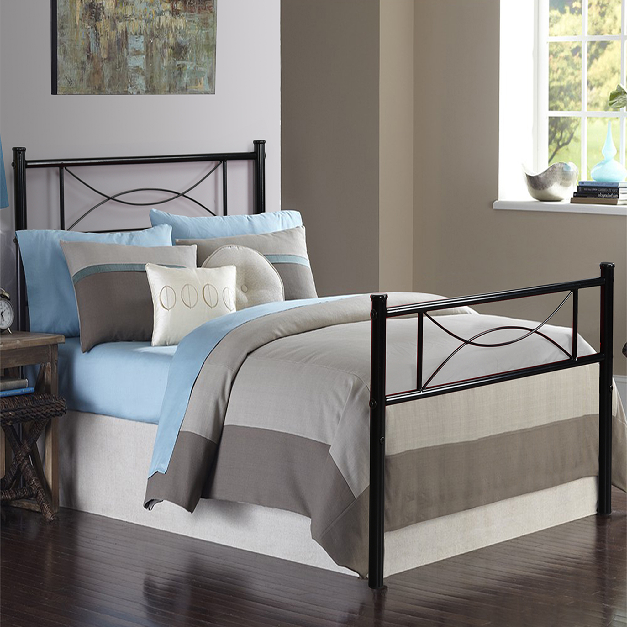 cheerwing high metal platform bed frame with two bowknot assembly