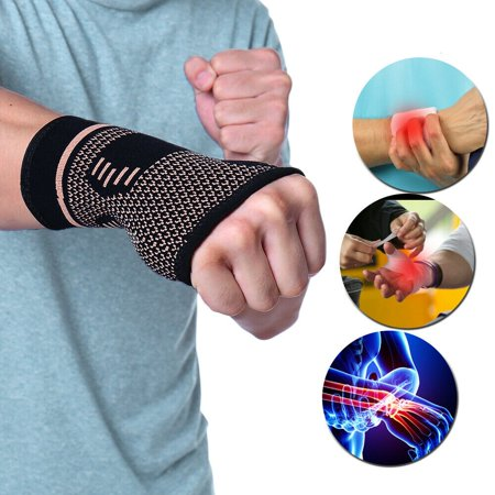 Copper Infuse Therapy Wrist Glove Tenosynovitis Pain Relief Wrist Hand Support Gloves Wrist Support Braces For Men /Women Gym Sports(Single/S) Hand Relieved Single Handle