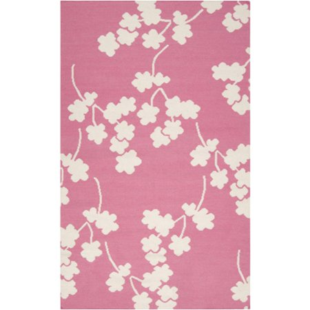 2' x 3' Falling Flower Papyrus and Flamingo Pink Wool Area Throw - Falling Flower