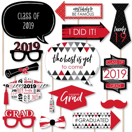 Red Grad - Best is Yet to Come - Red 2019 Graduation Party Photo Booth Props Kit - 20 Count (Photo Booth Props)