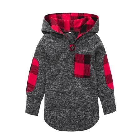 Kids Pullover (Outtop Toddler Kid Baby Girl Plaid Hoodie Pocket Sweatshirt Pullover Tops Warm)