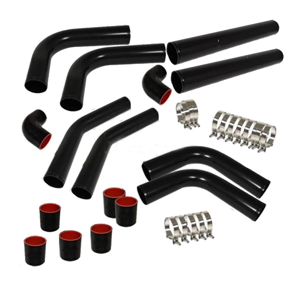 "Ktaxon Universal 2.5"" Inch Aluminum Intercooler Piping U-Pipe Kit+Coupler Black+T-Bolt"