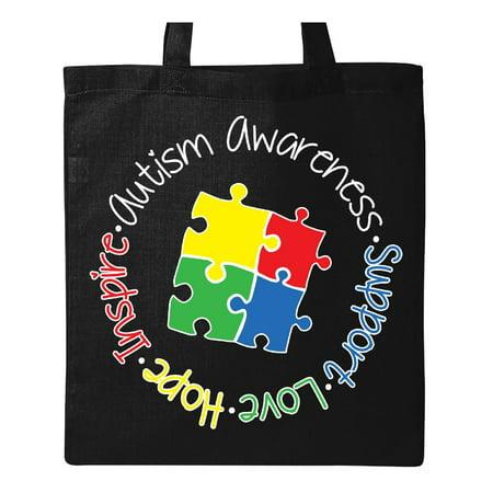 Awareness Tote (Autism Awareness Circle Tote Bag Black One Size )