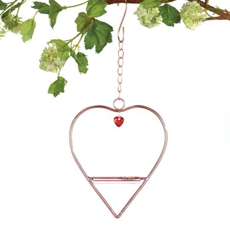 Outdoor Hummingbird Heart-Shaped Swing, Hummingbird heart swing features a horizontal bar and the copper-colored metal swing By Collections - Heart Swing