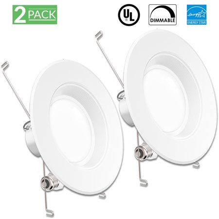 Sunco Lighting 2 Pack 5 / 6 Inch Baffle Recessed Retrofit Kit LED Light Fixture, 13W (75W Replacement), 3000K Kelvin Warm White, 965 Lumen, Dimmable, Quick/Easy Can Install, Damp Area