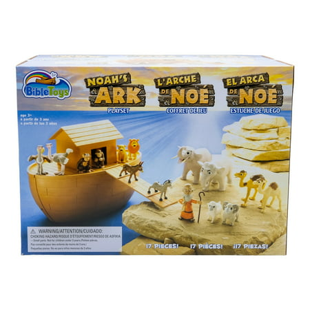 BibleToys Noah's Ark 18 Piece Playset with Noah, 14 Animals and Floating Ark - Christian Based Faith Children (Noah's Ark Toy Set)
