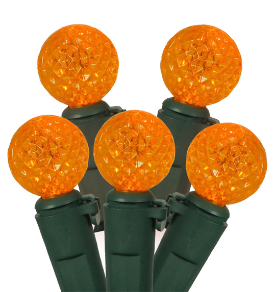 Set of 50 Orange LED G12 Berry Fashion Glow Christmas Lights - Green Wire