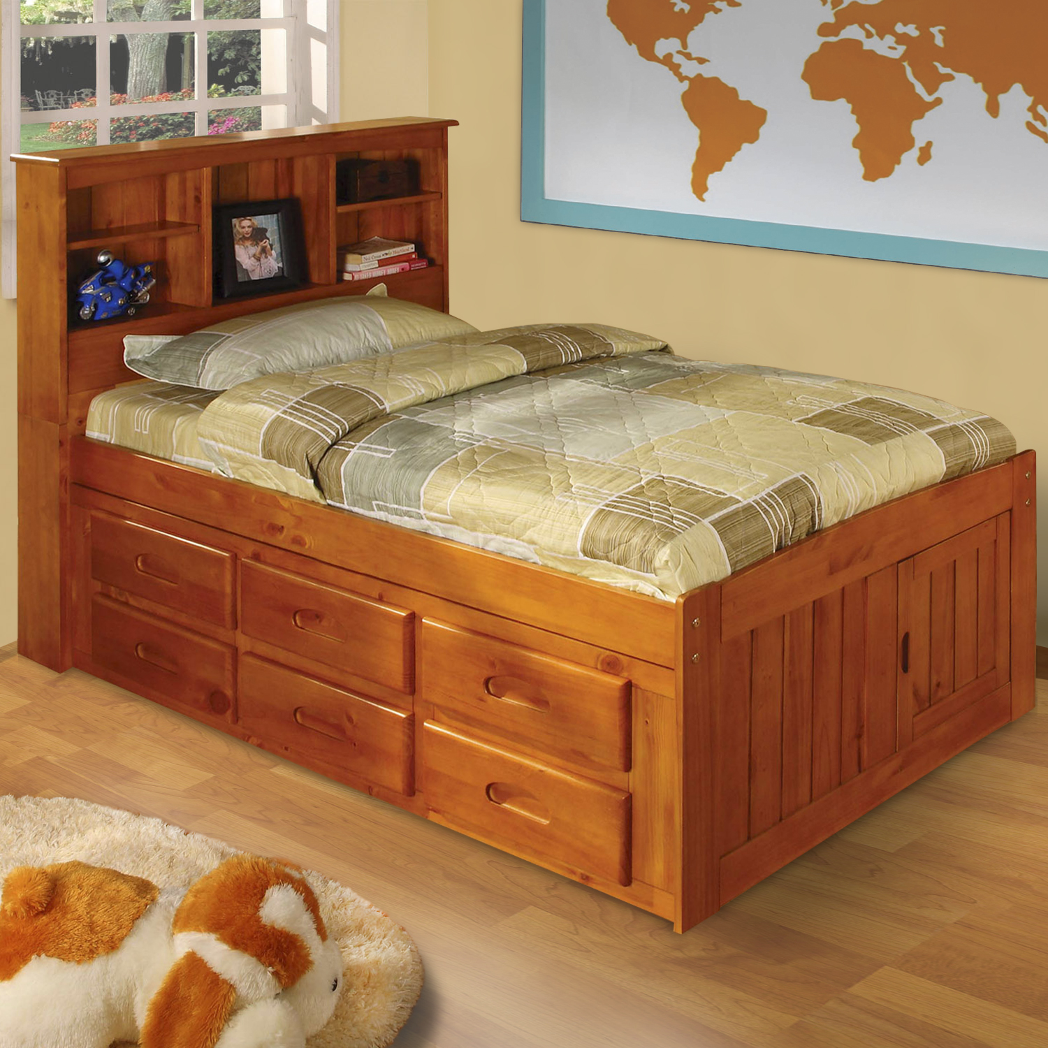 American Furniture Classics Model 2120-BCH, Solid Pine Bookcase Headboard Twin Bed with Six Drawers in Honey