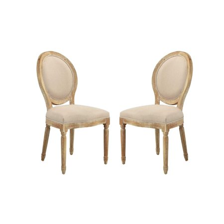 2 Piece Rustic Distressed Dining Room Chairs Round Back Kitchen Antic Beige