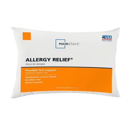 Mainstays Allergy Relief Hypoallergenic Polyester Fiberfill Firm Support Pillow, Standard Sleep Allergy Free Pillow