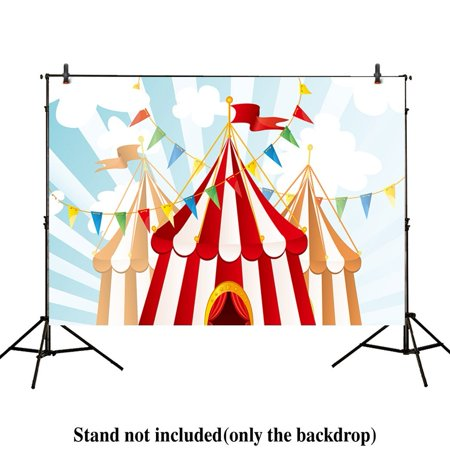 MOHome Polyster 7x5ft photography backdrop background Circus Tents stratus Playground carnival Carousel kids birthday party banner photo studio booth photocall