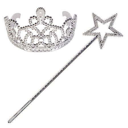 Girl's Party Accessory Princess Tiara Crown Headband Fairy Wand (  2 piece